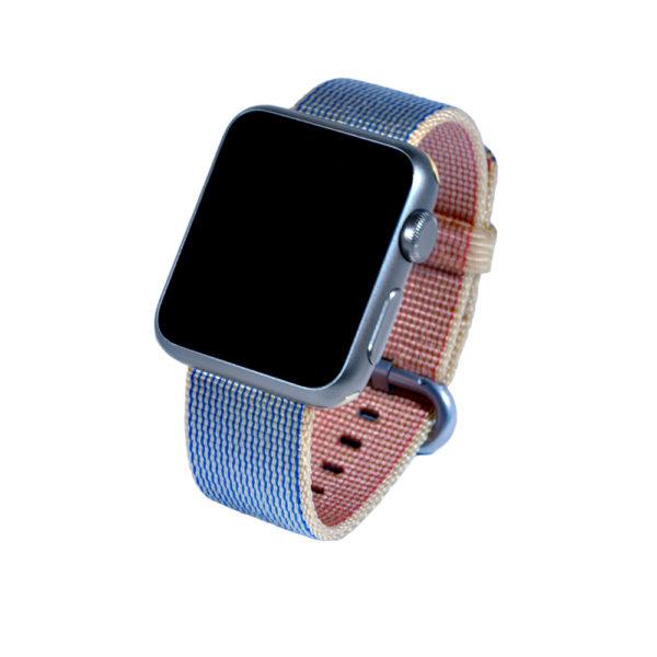 Blåguldigt vävt nylonarmband för Apple Watch