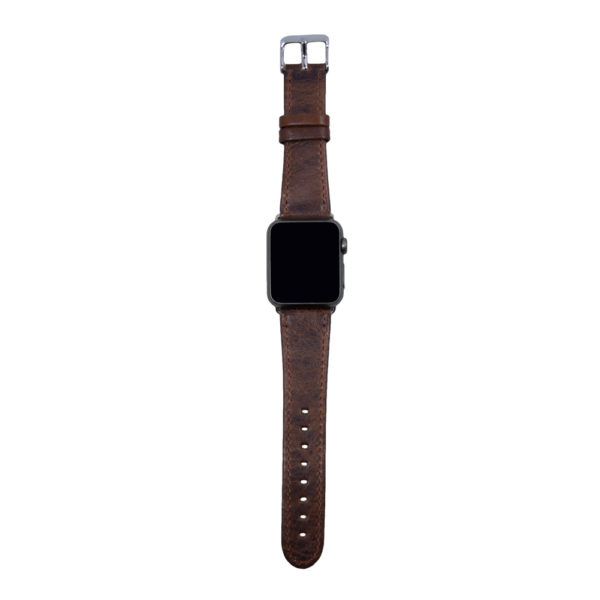 Brunt mönstrat läderarmband för Apple Watch