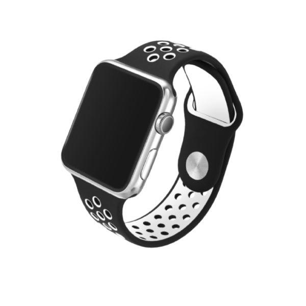Super-sportarmband svart/vit för applewatch